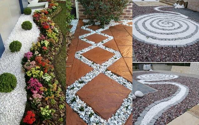 jardín con grava blanca